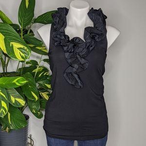 CAbi 564 black taffeta ruffle sleeveless top SZ M